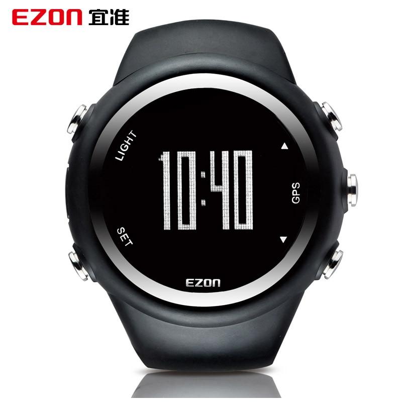 EZON GPS Running Calorie Teller Professionele Fitness Sport Horloge 50 M Waterdichte Horloges Voor Mannen Zwart