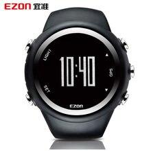 Ezon gps correndo caloria caixa profissional fitness esporte horloge 50 m waterdichte horloges para mannen zwart rood blauw t031