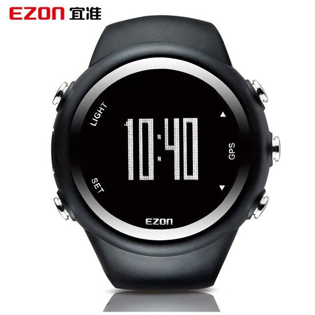EZON GPS Running Calorie Teller Professionele Fitness Sport Horloge 50 M Waterdichte Horloges Voor Mannen Zwart Rood Blauw T031