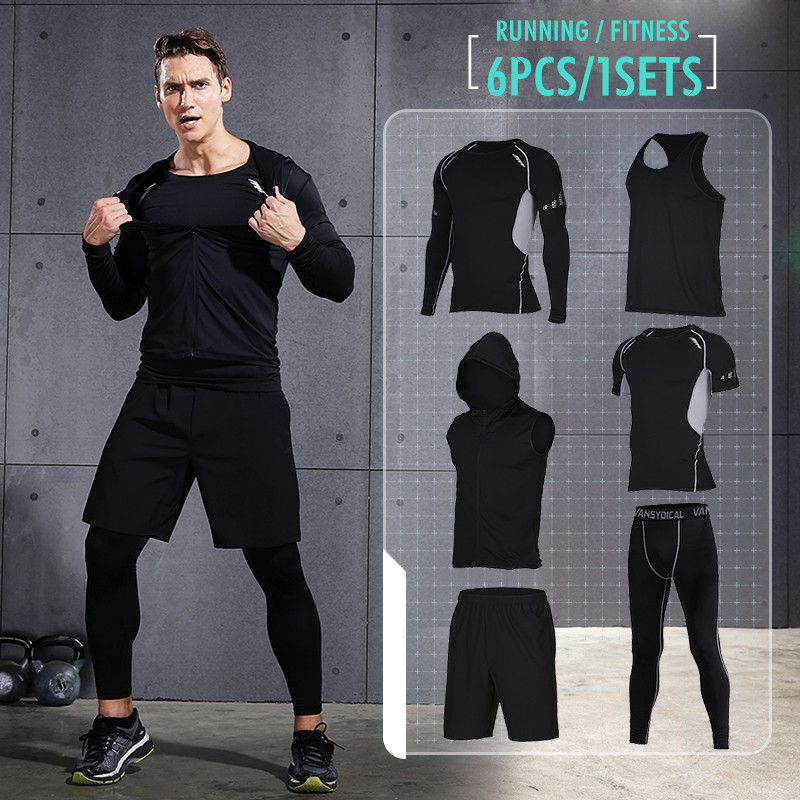 Vansydical Men's Sport Running Suits Quick Dry Basketball Jersey Tennis Soccer Training Tracksuits Jersey Gym Clothing Sets 6pcs 2017 compression 5pcs men fitness clothing sets quick dry sports running suit hood basketball soccer gym training jogging suits