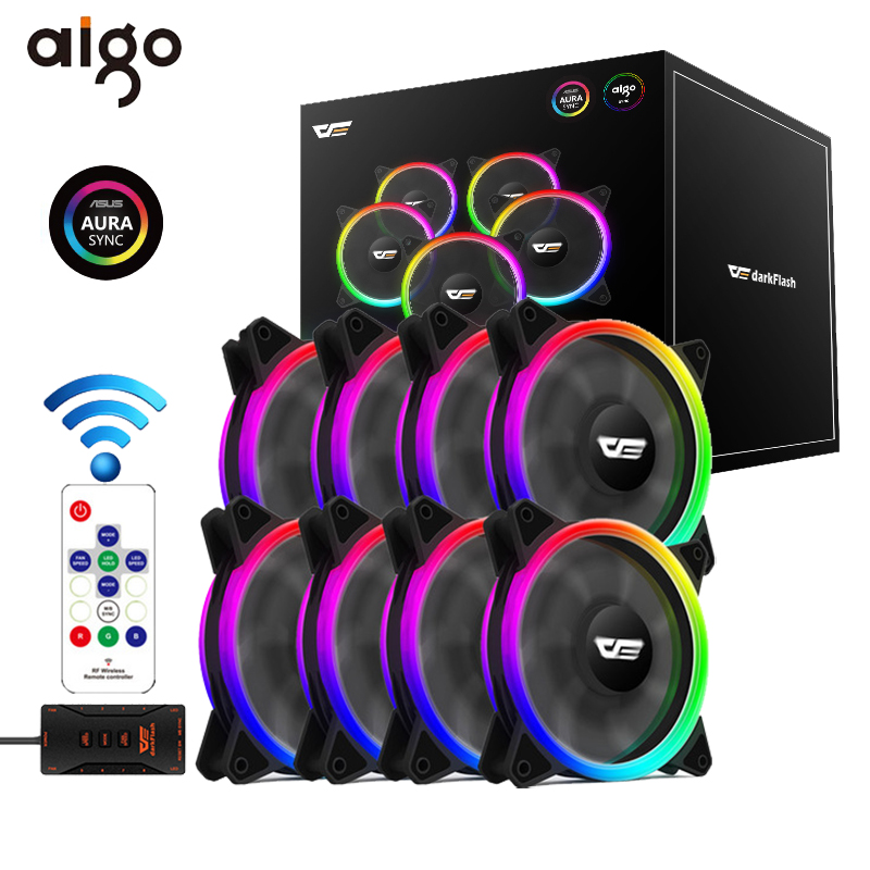 Aigo DR12 Pro PC Adjust LED Speed 120mm Quiet Remote AURA SYNC Computer Cooler Fans