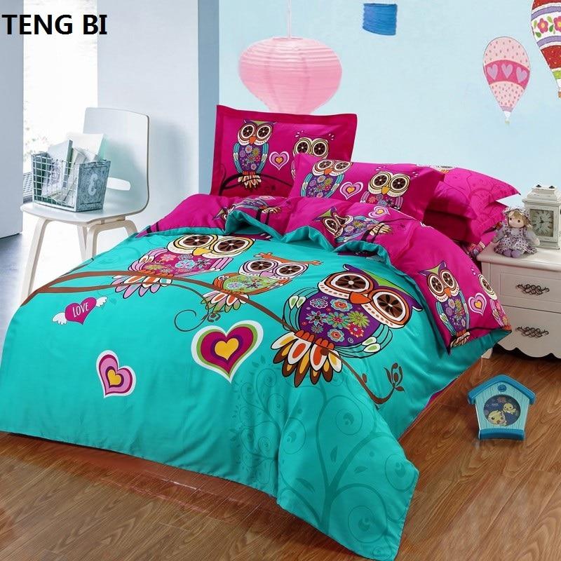 4/3 pièces 100% coton enfants hibou garçons/filles ensemble de literie 3d linge de lit avec housse de couette/drap de lit/taies d'oreiller king/twin/queen size