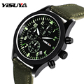 Famous Brand YISUYA Men's Watches Green Genuine Leather Nylon Quartz Watch Date Clock Man Military Army Wrist Watches