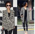 IMC 2016 Fashion Spring Autumn Jacket Women Long Sleeve Houndstooth Print Top Casual Slim Belt Peplum Cardigan Coat Outerwear