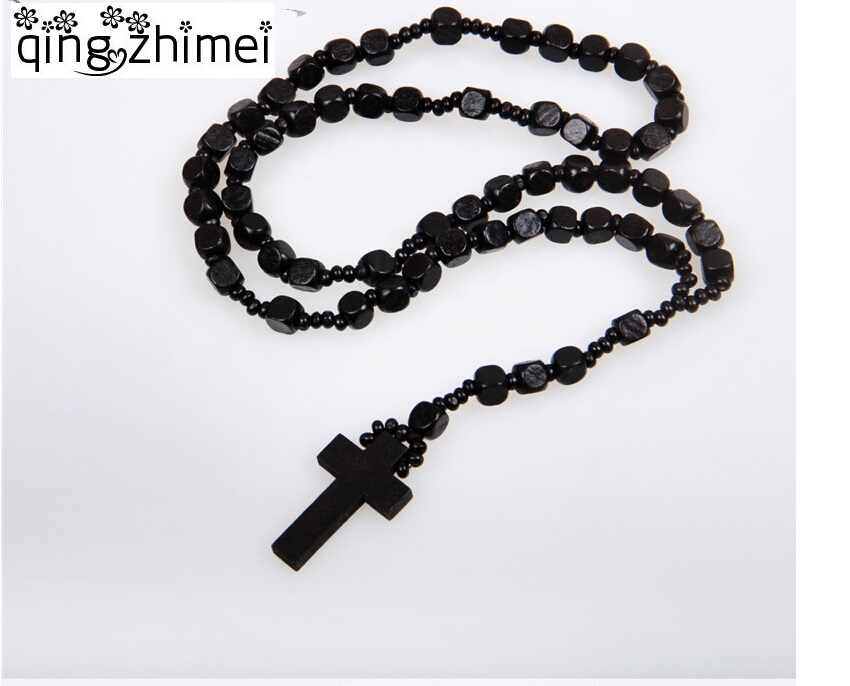 NEW Good hardwood rosary beaded Jesus CROSS wooden pendant necklace for men and women free shipping