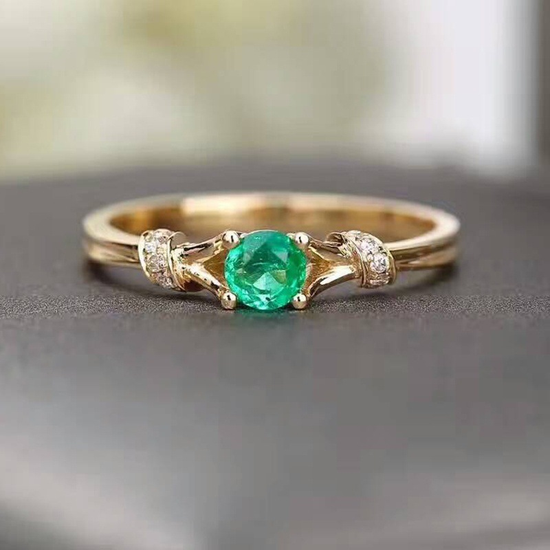 52f3af64aa0c6 US $0.49 |Green Round Crystal Rings For Women Female Stone Gold Color  Wedding Engagement Love Couple Rings Fashion Jewelry Wholesale-in Wedding  Bands ...