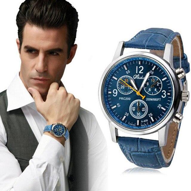 Top Brand Luxury Fashion Crocodile Faux Leather Strap Mens Analog Business Quartz Watch Black&Brown&Blue Clock erkek kol saati
