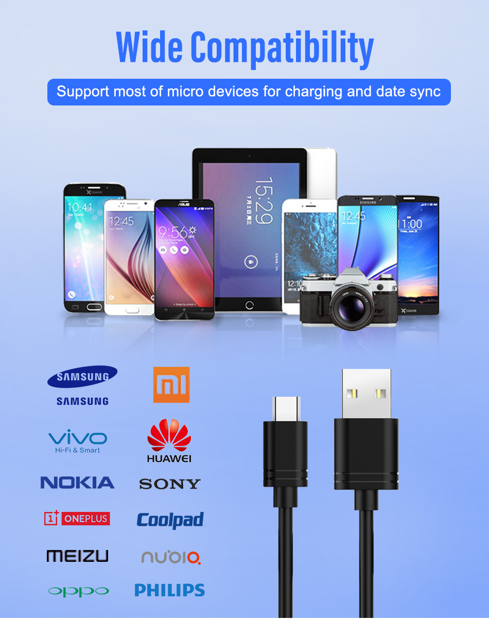 NOHON Micro USB Sync Data Cable Android Phone Fast Charging Cord For Samsung Galaxy S7 S6 Edge Huawei Xiaomi 4 Long Charge Cable (10)