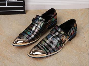 Glitter Genuine Leather High Top leather Oxfords Shoes  Fashion Striped buckle Business Dress Shoes office party shoes for men