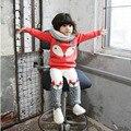 Милые Meisjes Kleding Наборы Животных Фокс Девушка Комплект Одежды Модные Девушки Зимняя Одежда Флис Дети Костюмы Корейский Детская Одежда