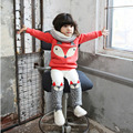 Bonito Meisjes Kleding Define Animais Raposa Menina Conjunto de Roupas de Moda Meninas Roupas de Inverno do Velo Crianças Fatos de Treino Roupa Dos Miúdos Coreano
