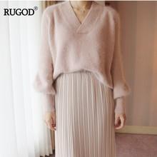 RUGOD Women Mink Cashmere Elegant Charming Soft Knitted Sweater V-Neck Lantern Sleeve Office Lady Loose Solid Female Sweater