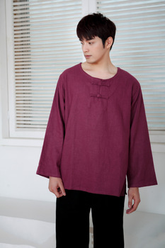 cefc4f58f Tang traje chaqueta Wu Shu Tai Chi shaolin kung fu ala chun camisa manga  larga ejercicios traje hombres sueltos tops M-XL