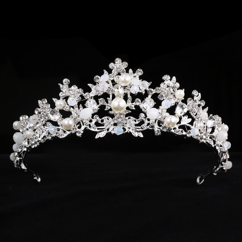 Handmade Crystal Tiara Princess Crown wedding Hair Accessories bridal Rhinestone Beads headbands Diadem jewelry Birthday Gift rhinestone pearl flower bridal crowns handmade vintage gold tiara headband crystal diadem crown wedding hair accessories