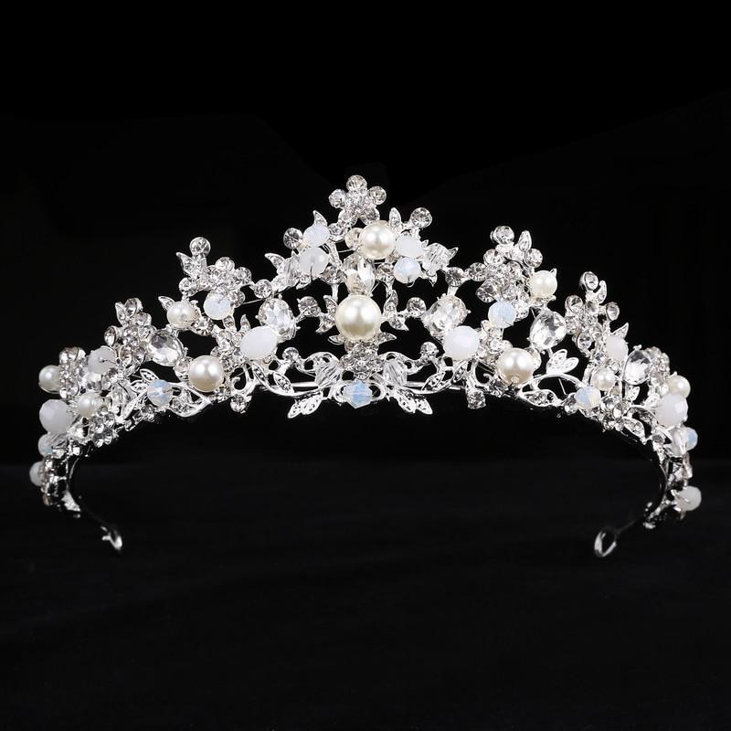 Handmade Crystal Tiara Princess Crown wedding Hair Accessories bridal Rhinestone Beads headbands Diadem jewelry Birthday Gift