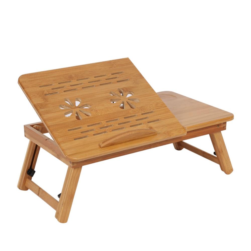 1pc Adjustable Bamboo Laptop Table Shelf Dormitory Sofa