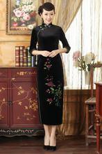 Shanghai Story Chinese Style Long Cheongsam dress women dresses autmun Floral Embroidery dress velvet qipao dress 3 style