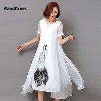 RENBANG Yüksek Kalite 2018 Yeni İlkbahar Yaz Kadın Iş Elbisesi Mürekkep Baskı Retro Pamuk Keten Tasarımlar Günlük Elbiseler İnce Beyaz