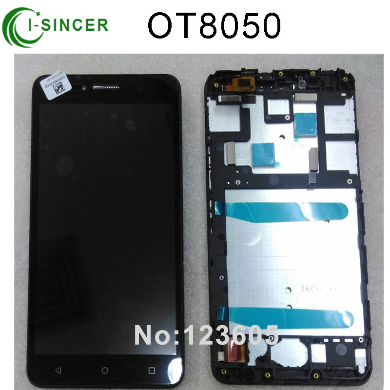 Black For Alcatel One Touch Ot8050 LCD Display Screen with Touch Digitizer Assembly With Frame Free shipping black silver gold for htc one m9 lcd display touch screen digitizer assembly with frame free shipping