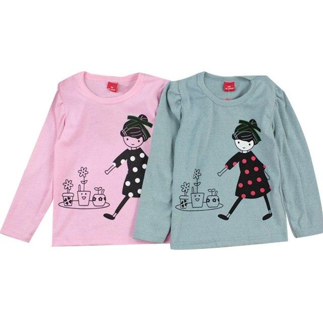 Camisetas de manga larga con estampado de niña de dibujos animados Tops  para niñas y bebés 73e5fd1902a37