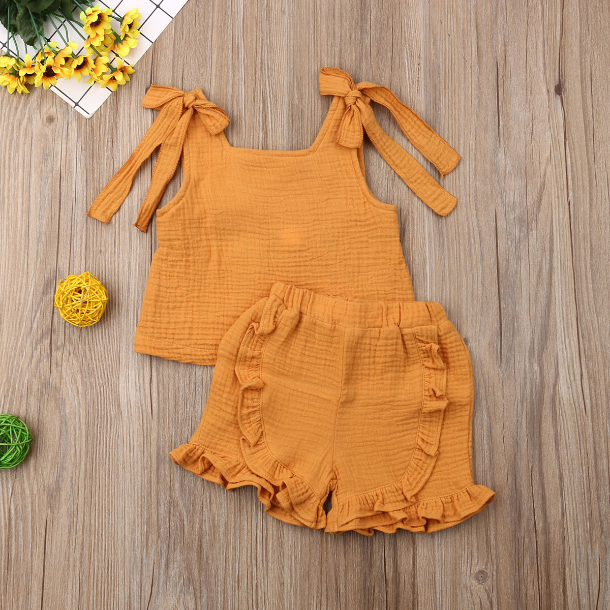 Pudcoco Summer Toddler Baby Girl Clothes Solid Color Sleeveless Tops Ruffle Short Pants 2Pcs Outfits Cotton Casual Clothes