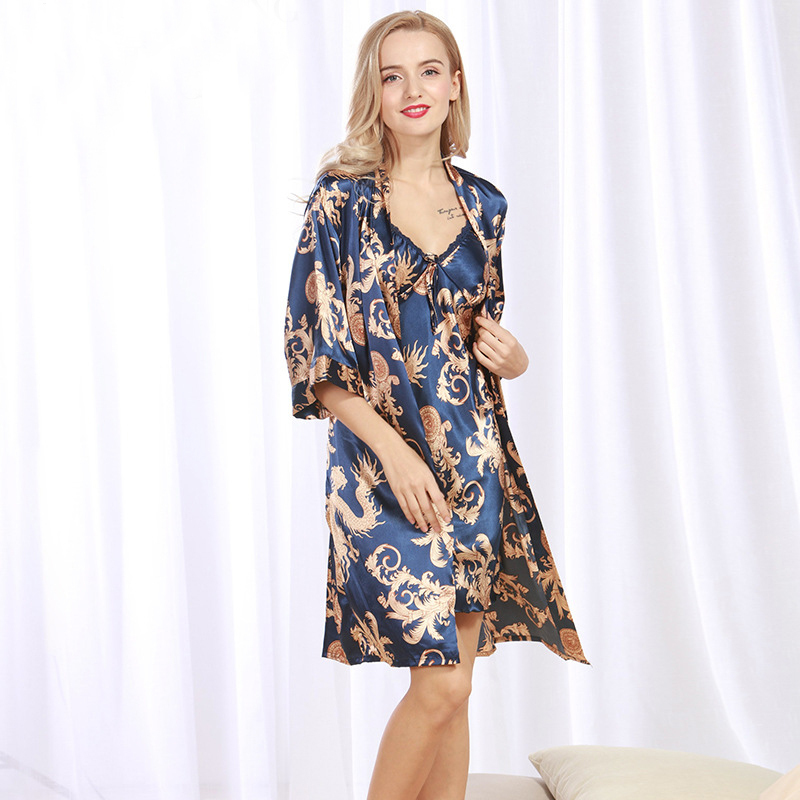 SSH071 New Brand Satin Silk Robe & Gown Set Plus Size Two Pieces Suspender Sleepwear + Bathing Robe Printed Sexy Women Nightwear