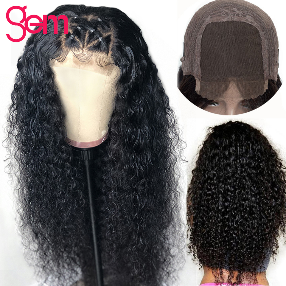 4x4 Closure Curly Human Hair Wig 150 Density Lace Front Wig For Black Women Malaysian Remy