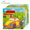 5pcs/Set Children Vehicle Wooden Jigsaw Puzzle Toy 9 Pieces Educational Toy For Baby