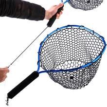 Sougayilang Pieghevole di Pesca A Mosca Brail Blu In Gomma Morbida Landing Net 54x30x24cm Manico In Eva Fly A Buon Mercato reti da pesca Attrezzatura Da Pesca