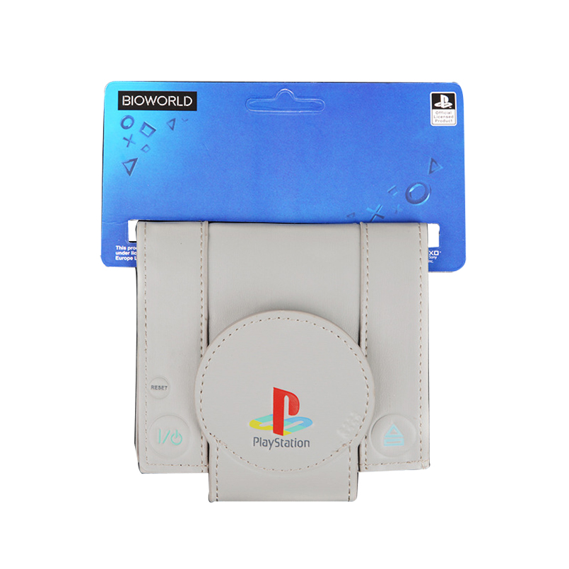 PlayStation PS1 Console Men/'s Bi-Fold Wallet Grey