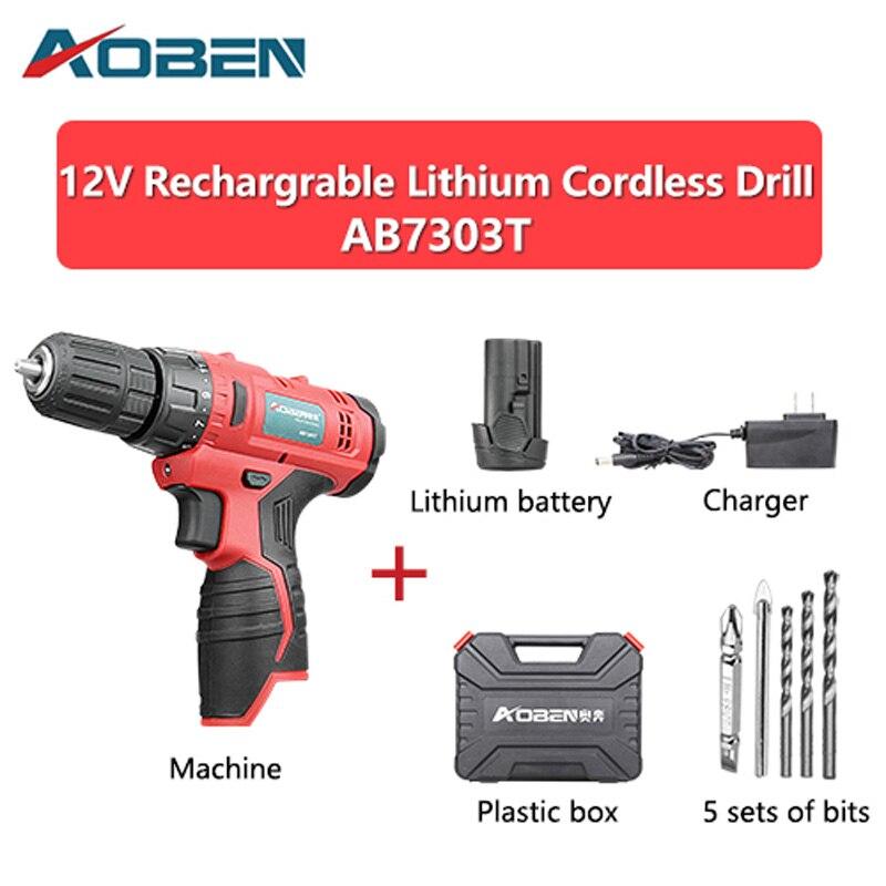 AOBEN 12V Dobíjecí lithium Akumulátorové vrtačky 2 Baterie Šroubovák Elektrické nářadí Mini Elektrická vrtačka pro domácnost s vrtáky