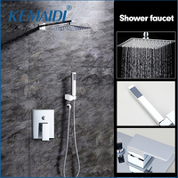 OUBONi High Quality Bathroom Wall Mounted 8 Rain Shower Head Valve Mixer Tap W Hand Shower