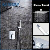 OUBONi High Quality Bathroom Wall Mounted 8 Rain Shower Head Valve Mixer Tap W Hand Shower