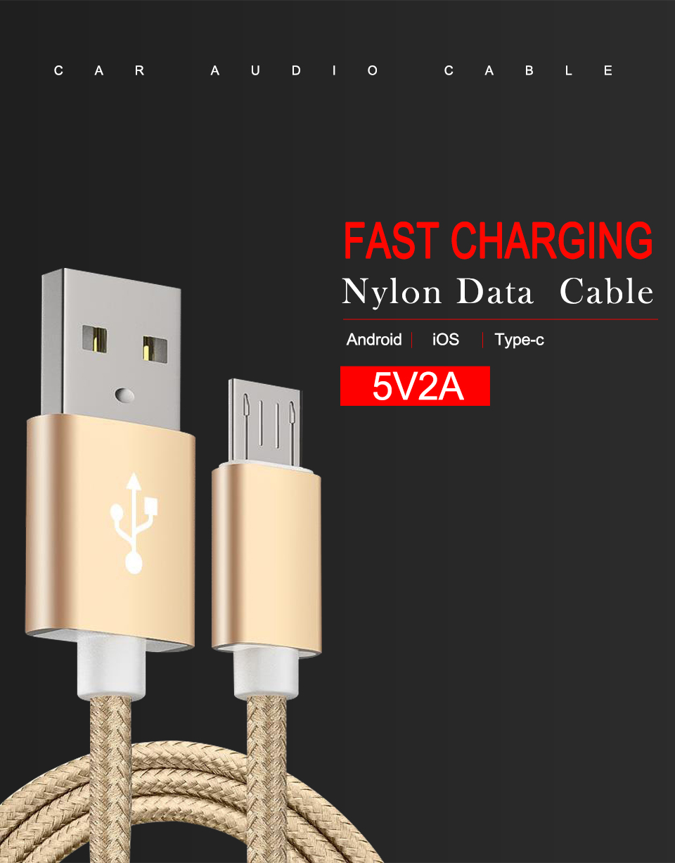 1m 1.5m 2m 5V2A Nylon Data Cable Fast Micro USB Charging For Data Transmission Cables Android Type-c iOS System For Mobile Phone (1)