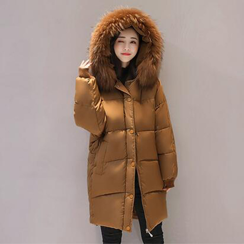 Winter Women Long Hooded Cotton Coat Plus Size Casual Parkas Padded Faux Fur Collar Jacket Warm Wadded Thick Cotton Coat PW1024 2017 winter women long hooded cotton coat plus size padded parkas outerwear thick basic jacket casual warm cotton coats pw1003