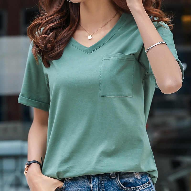 Женская футболка размера плюс, новинка 2019, летняя женская футболка, короткий рукав, хлопок, футболки для женщин, v-образный вырез, белый, черный, повседневные топы