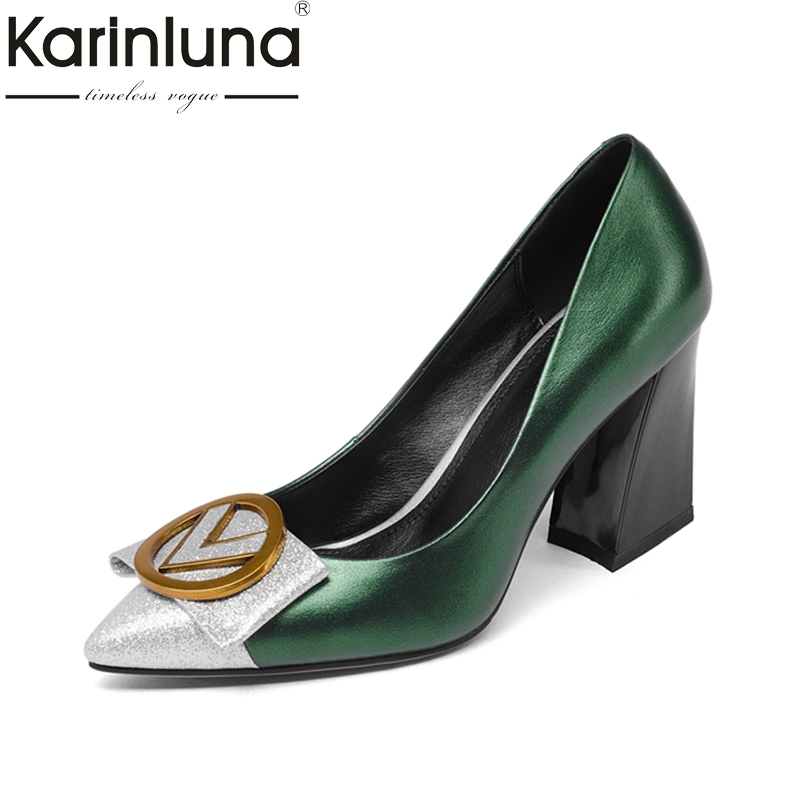 KARINLUNA fashion cow leather size 34-39 black Women Pumps high heels Pointed Toe Office Ladies Shoes Woman party dating comfy women pointed toe square high heels office shoes woman flock ladies pumps plus size 34 40 black grey high quality