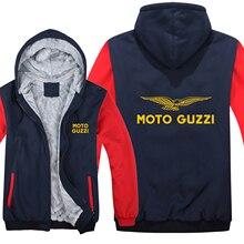 Inverno moto guzzi hoodies dos homens com zíper casaco velo engrossar homem moto guzzi moletom pulôver