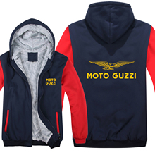 Winter Moto Guzzi Hoodies Mens Zipper Coat Fleece Thicken Man moto guzzi Sweatshirt Pullover