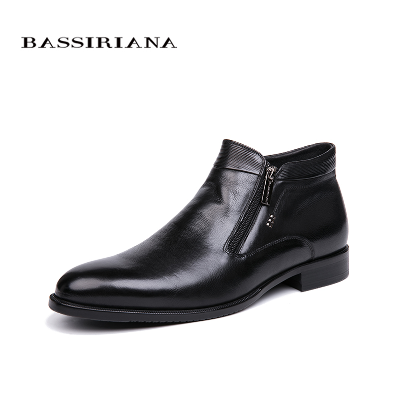 BASSIRIANA New 2018 Winter Natural Fur Men s Shoes Black Men s Dress Shoes Free Shipping