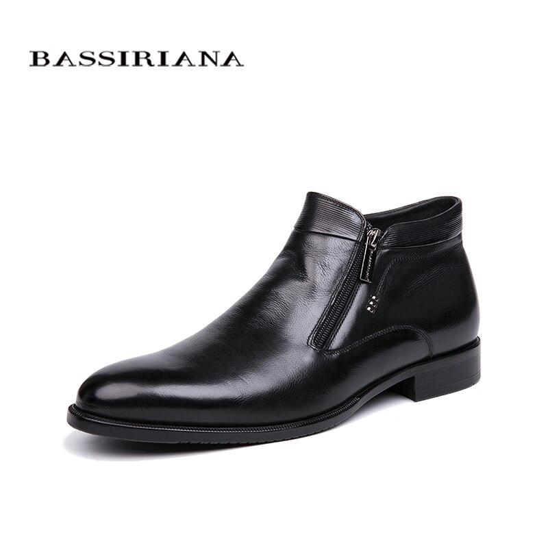 BASSIRIANA nuevos zapatos de piel Natural de invierno 2018 para Hombre Zapatos de vestir negros para hombre envío gratis-in Zapatos formales from zapatos    1