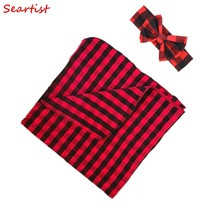Seartist Baby Boys Girls Red Plaid Christmas Swaddle Blanket Blanket+Headband Hat Bebes Baby Swaddles Toddler Infant Hold Wraps mizumi red hold