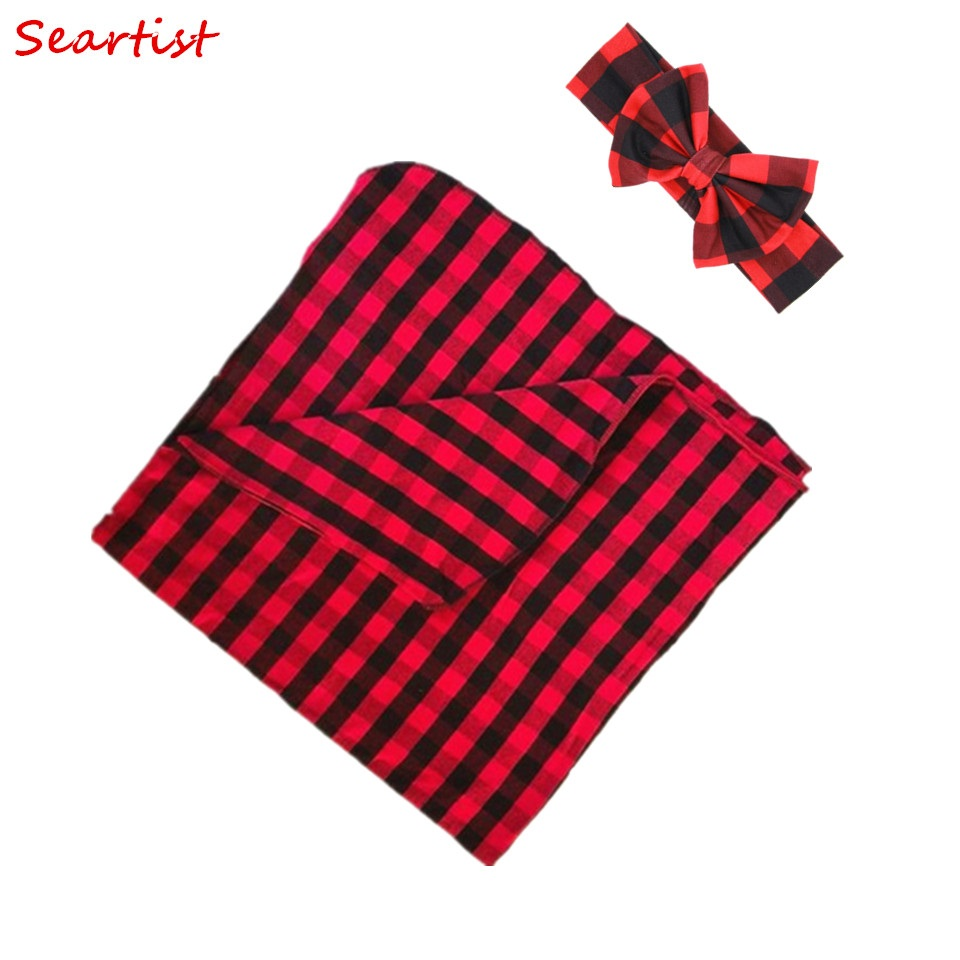 Seartist Baby Boys Girls Red Plaid Christmas Swaddle Blanket+Headband Hat Bebes Baby Swaddles Toddler Infant Hold Wraps 10