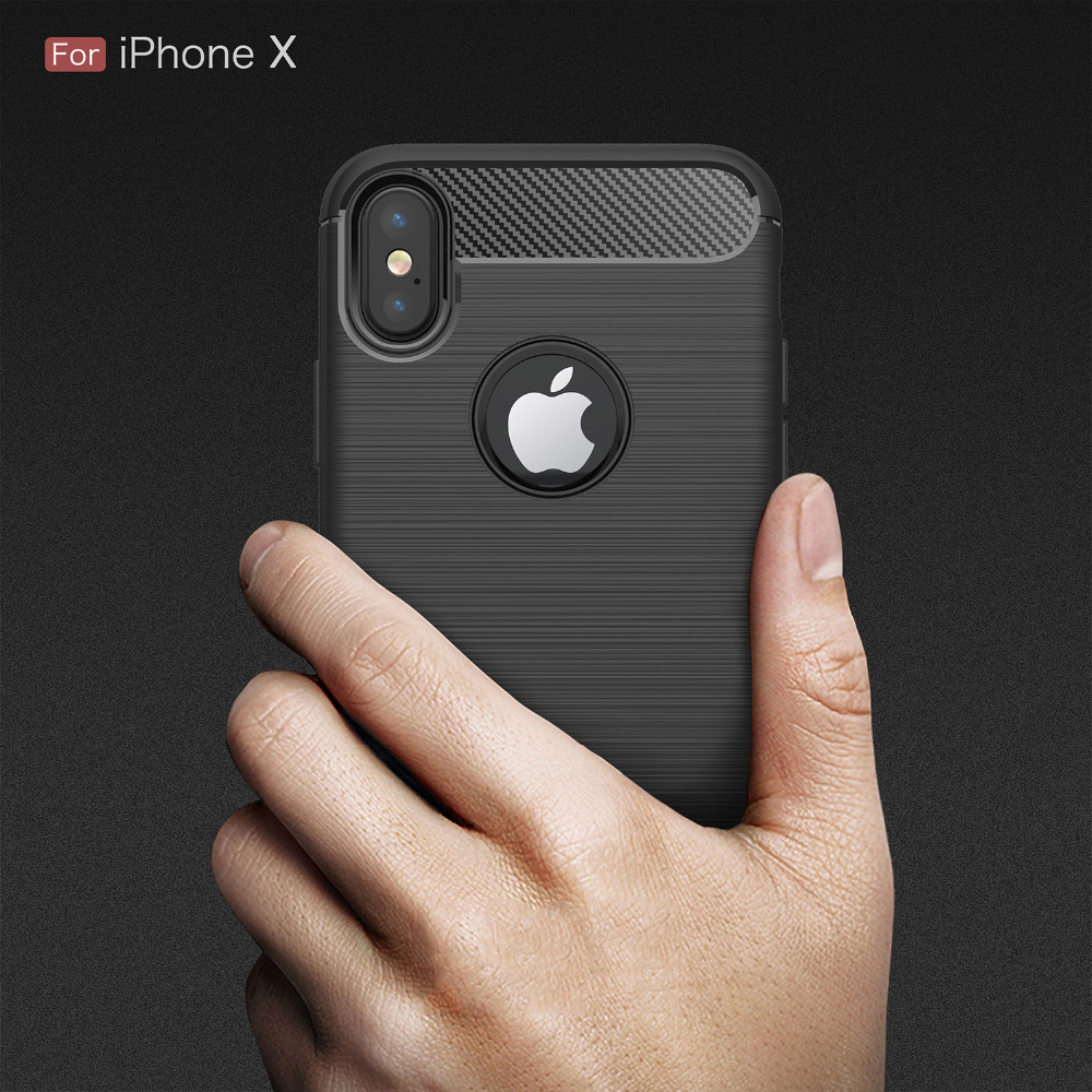 For Iphone X TPU Silicone Case Luxury Business Carbon Fiber Soft Case For Iphone X 10 ten Drawing Shockproof Back Cover