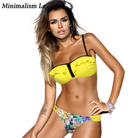Minimalism Le Sexy Flounced Bikinis 2018 Print Bathing Suits Women Swimwear Bandage Biquini Swimsuit Monokini Bikini