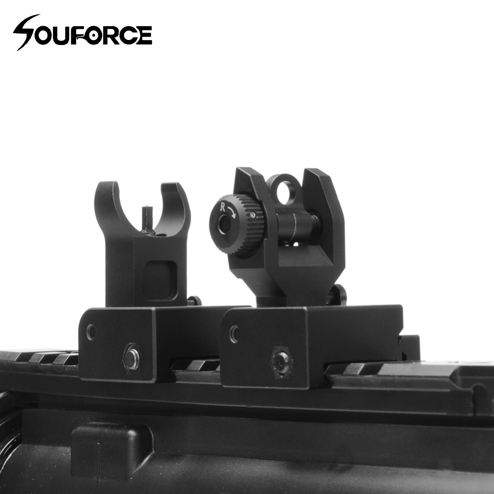 US Flip Up Front Rear Iron Sight Set Dual Half Moon Shape BUIS Sights For 20mm Mount Of Hunting Gun Rifle Airsoft Accessories
