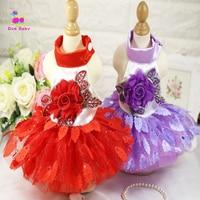 Fashion Net Yarn Pet Dog Wedding Dress Clothes Cute Puppy Princess Evening Gown Small Dog Flower