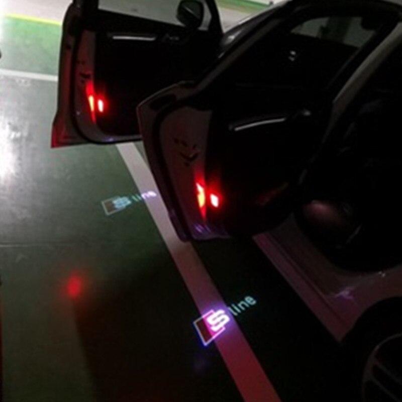 2Pcs Car LED Welcome Light Logo Projector Lights For Audi A3 8P 8V A4 A5 A6 A7 A8 A1 B5 B6 B7 Q3 Q5 Q7 C5 C6 TT 100 80 C7 S LINE