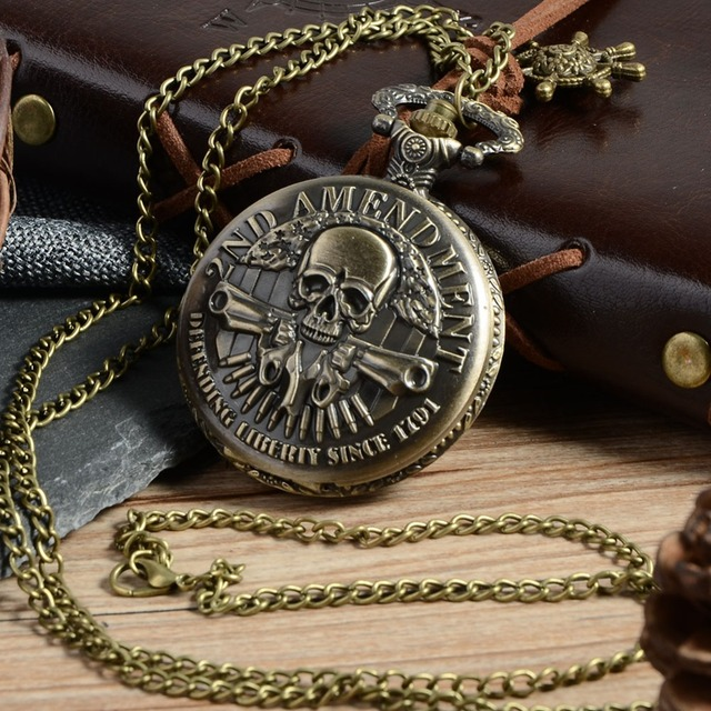 Vintage Bronze High Quality skull double gun Quartz pocket watch Fashion Style B