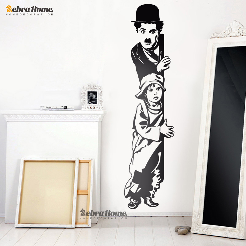 Charlie chaplin kids looking decorative vinyl wall sticker for Stickers decorativos